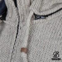 Shakaloha Shakaloha Knitted Woolen Jacket Breaker Beige Cream with Nylon Windstopper and Detachable Hood - Men - Unisex - Handmade in Nepal from sheep's wool
