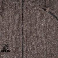 Shakaloha Shakaloha Wolljacke - Strickjacke Chitwan Classic Dunkelbraun mit Fleece-Futter und Kapuze - Herren - Uni - Handgemacht in Nepal aus Schafwolle