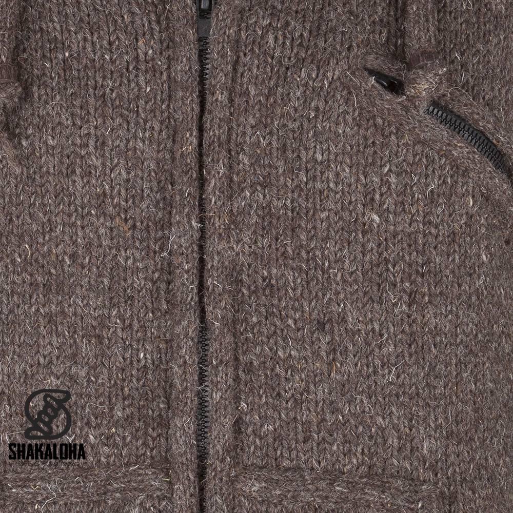 Shakaloha Shakaloha Gebreid Wollen Vest Chitwan Classic Donker Bruin met Fleece Voering en Capuchon - Man/Uni - Handgemaakt in Nepal van Schapenwol