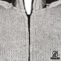 Shakaloha Shakaloha Wolljacke - Strickjacke Fame Graues Anthrazit mit Fleece-Futter und Abnehmbarer Kapuze - Damen - Handgemacht in Nepal aus Schafwolle