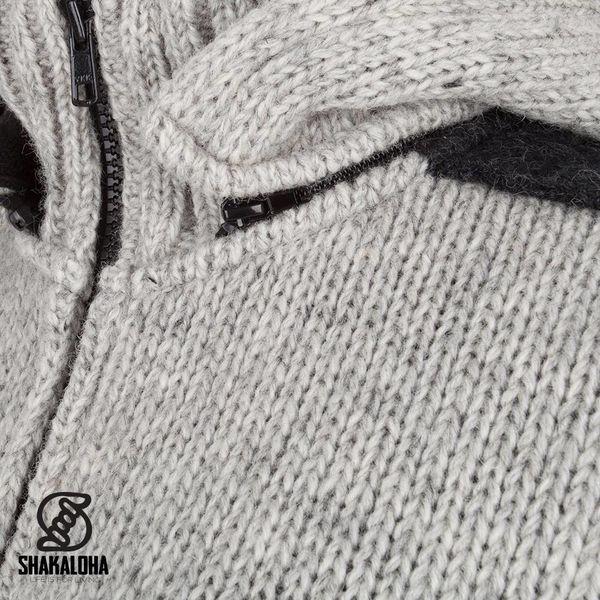 Shakaloha Shakaloha Gebreid Wollen Vest Fame Grijs Antraciet met Fleece Voering en Afneembare Capuchon - Dames - Handgemaakt in Nepal van Schapenwol