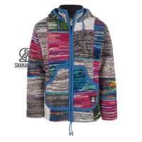 Shakaloha Shakaloha Gebreid Wollen Vest Patch ZH Gemixte Meerkleurig Bont met Fleece Voering en Afneembare Capuchon - Man/Uni - Handgemaakt in Nepal van Schapenwol
