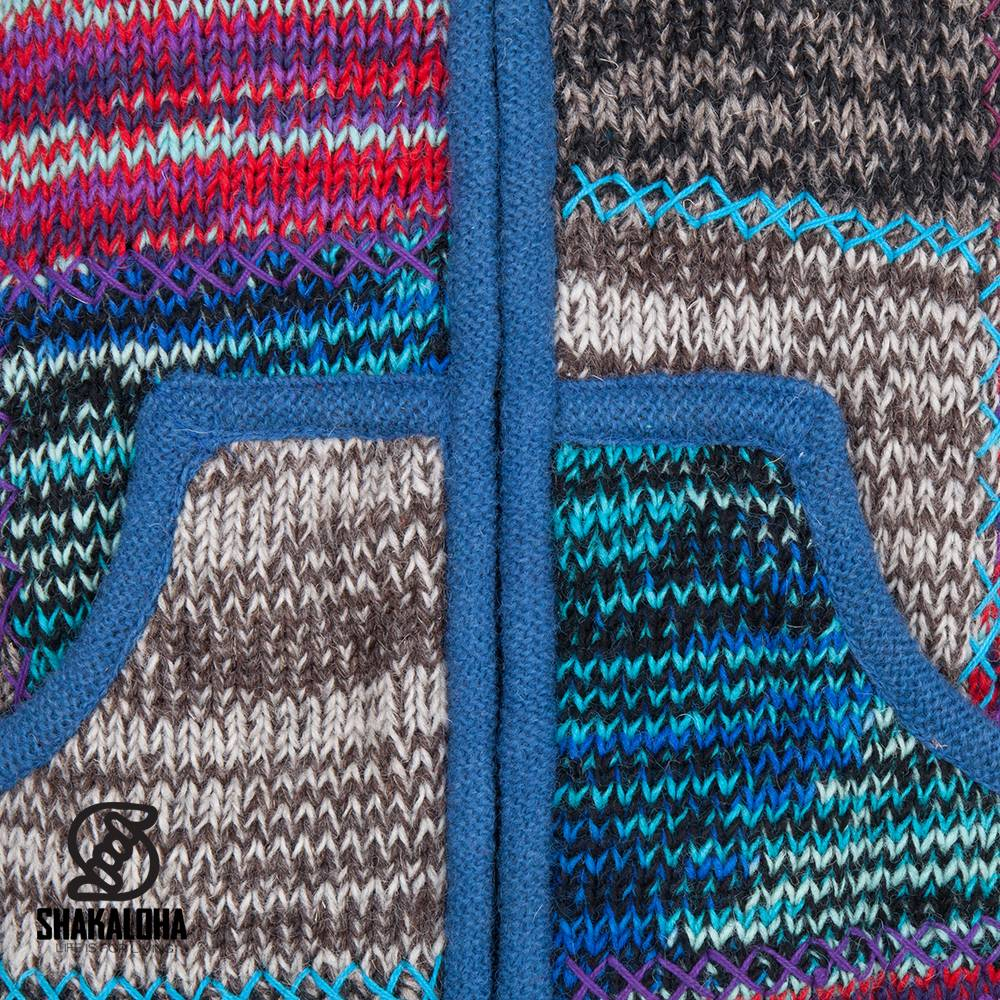 Shakaloha Shakaloha Knitted Woolen Jacket Patch ZH Mixed Multicolor with Fleece Lining and Detachable Hood - Men - Unisex - Handmade in Nepal from sheep's wool