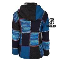 Shakaloha Shakaloha Gebreid Wollen Vest Patch ZH Navy Blue Blauw met Fleece Voering en Afneembare Capuchon - Dames - Handgemaakt in Nepal van Schapenwol