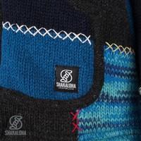 Shakaloha Shakaloha Knitted Woolen Jacket Patch ZH Navy Blue Blue with Fleece Lining and Detachable Hood - Woman - Handmade in Nepal from sheep's wool