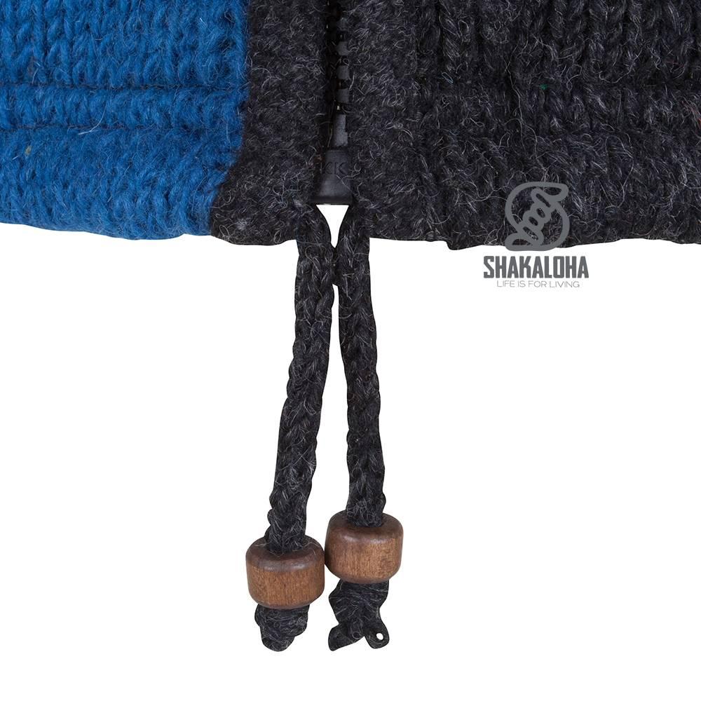 Shakaloha Shakaloha Wolljacke - Strickjacke Patch ZH Marineblau Blau mit Fleece-Futter und Abnehmbarer Kapuze - Damen - Handgemacht in Nepal aus Schafwolle