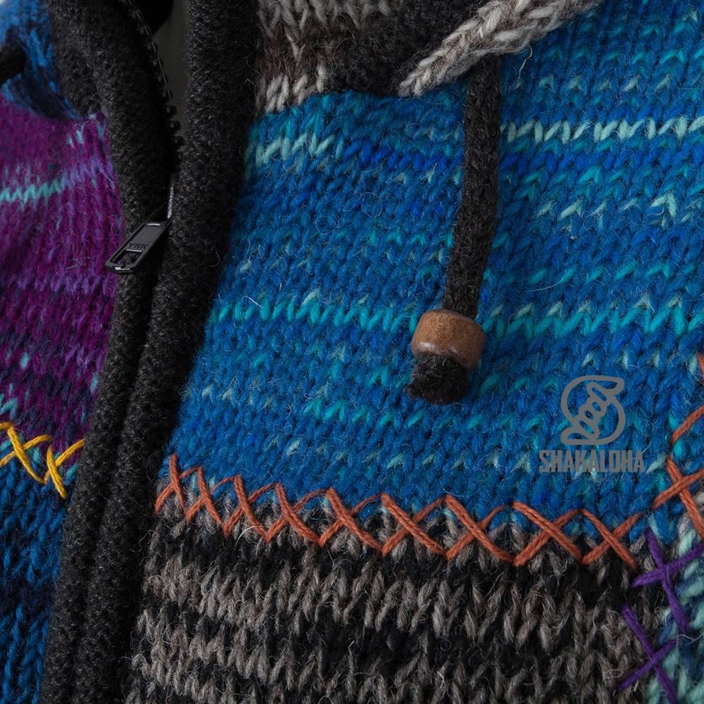 Shakaloha Shakaloha Gebreid Wollen Vest Patch NH Meerkleurig Bont met Fleece Voering en Capuchon met Binnenkraag - Dames - Handgemaakt in Nepal van Schapenwol