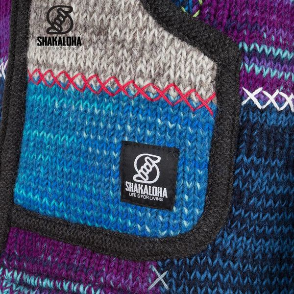 Shakaloha Shakaloha Wolljacke - Strickjacke Patch NH Mehrfarbiges Fell mit Fleece-Futter und Kapuze mit Innenkragen - Damen - Handgemacht in Nepal aus Schafwolle