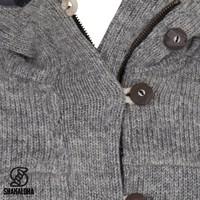 Shakaloha Shakaloha Wolljacke - Strickjacke Hallberg Grau mit Fleece-Futter und Kapuze - Herren - Uni - Handgemacht in Nepal aus Schafwolle