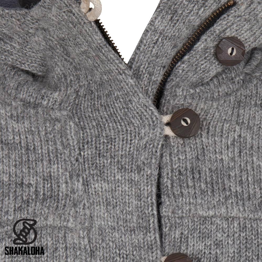 Shakaloha Shakaloha Gebreid Wollen Vest Hallberg Grijs met Fleece Voering en Capuchon - Man/Uni - Handgemaakt in Nepal van Schapenwol