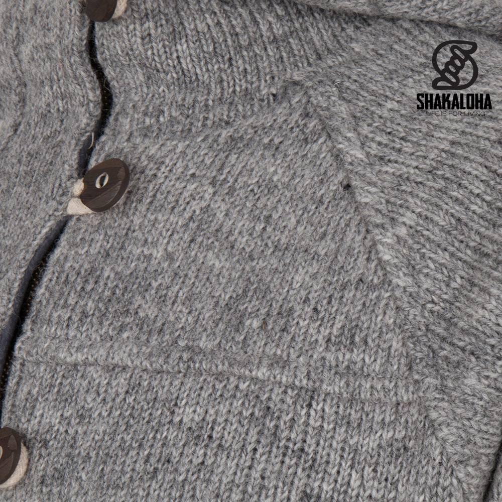 Shakaloha Shakaloha Veste en Laine Tricoté Hallberg gris avec Doublure en polaire et Capuche - Hommes - Uni - Fabriqué à la main au Népal en laine de mouton