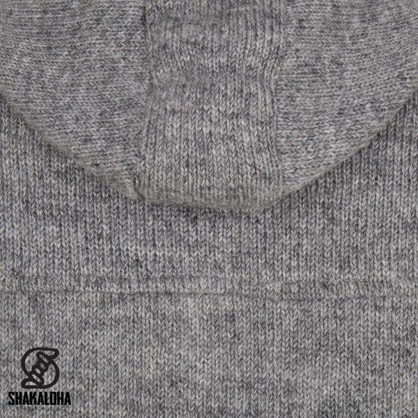 Shakaloha Shakaloha Knitted Woolen Jacket Hallberg Gray with Fleece Lining and Hood - Men - Unisex - Handmade in Nepal from sheep's wool