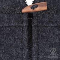 Shakaloha Shakaloha Gebreid Wollen Vest Fellini Antraciet met Fleece Voering en Afneembare Capuchon - Dames - Handgemaakt in Nepal van Schapenwol