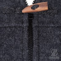 Shakaloha Shakaloha Knitted Woolen Jacket Fellini Anthracite with Fleece Lining and Detachable Hood - Woman - Handmade in Nepal from sheep's wool