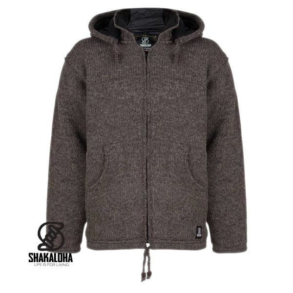 Shakaloha Shakaloha Knitted Woolen Jacket Breaker Light Brown Taupe with Nylon Windstopper and Detachable Hood - Men - Unisex - Handmade in Nepal from sheep's wool