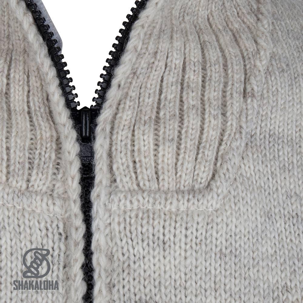 Shakaloha Shakaloha Gebreid Wollen Vest Flyer Collar Beige Crème met Katoenen Voering en Hoge Kraag - Man/Uni - Handgemaakt in Nepal van Schapenwol