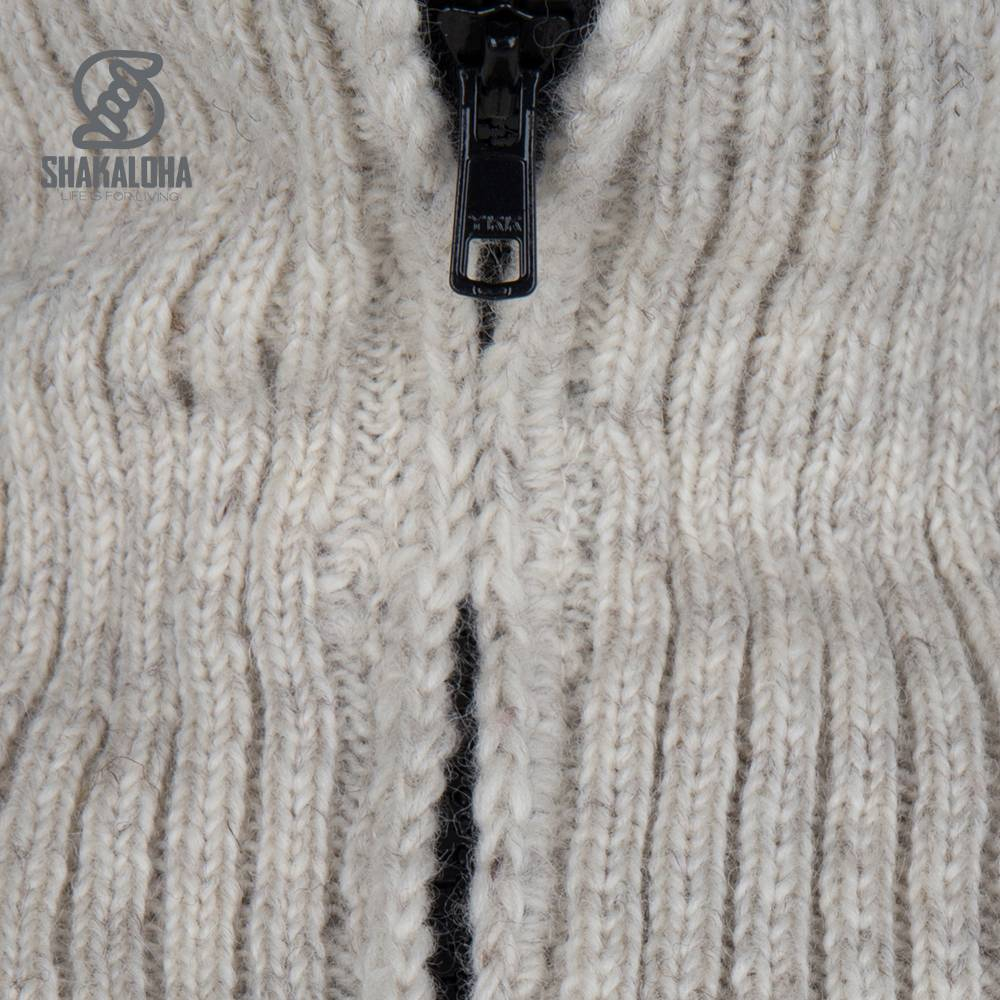 Shakaloha Shakaloha Wolljacke - Strickjacke Flyer Collar Beige Creme mit Baumwollfutter und hohem Kragen - Herren - Uni - Handgemacht in Nepal aus Schafwolle