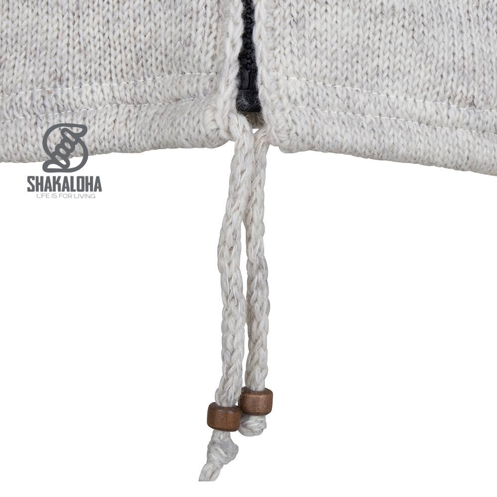Shakaloha Shakaloha Gebreid Wollen Vest Cruiser Ziphood Beige Crème met Katoenen Voering en Afneembare Capuchon - Man/Uni - Handgemaakt in Nepal van Schapenwol