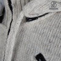Shakaloha Shakaloha Knitted Woolen Jacket Cruiser Ziphood Beige Cream with Cotton Lining and Detachable Hood - Men - Unisex - Handmade in Nepal from sheep's wool