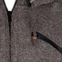 Shakaloha Shakaloha Gebreid Wollen Vest Cruiser Ziphood Licht Bruin Taupe met Katoenen Voering en Afneembare Capuchon - Man/Uni - Handgemaakt in Nepal van Schapenwol