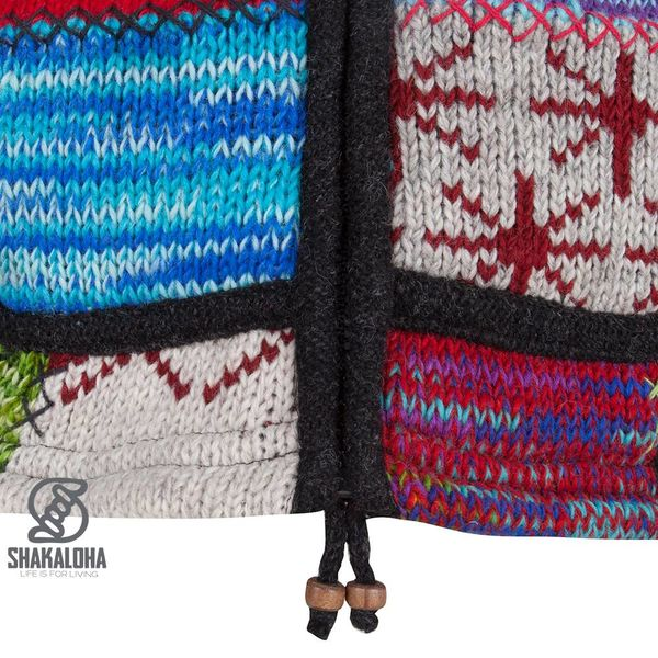 Shakaloha Shakaloha Gebreid Wollen Vest Patch ZH Meerkleurig Bont met Fleece Voering en Afneembare Capuchon - Dames - Handgemaakt in Nepal van Schapenwol