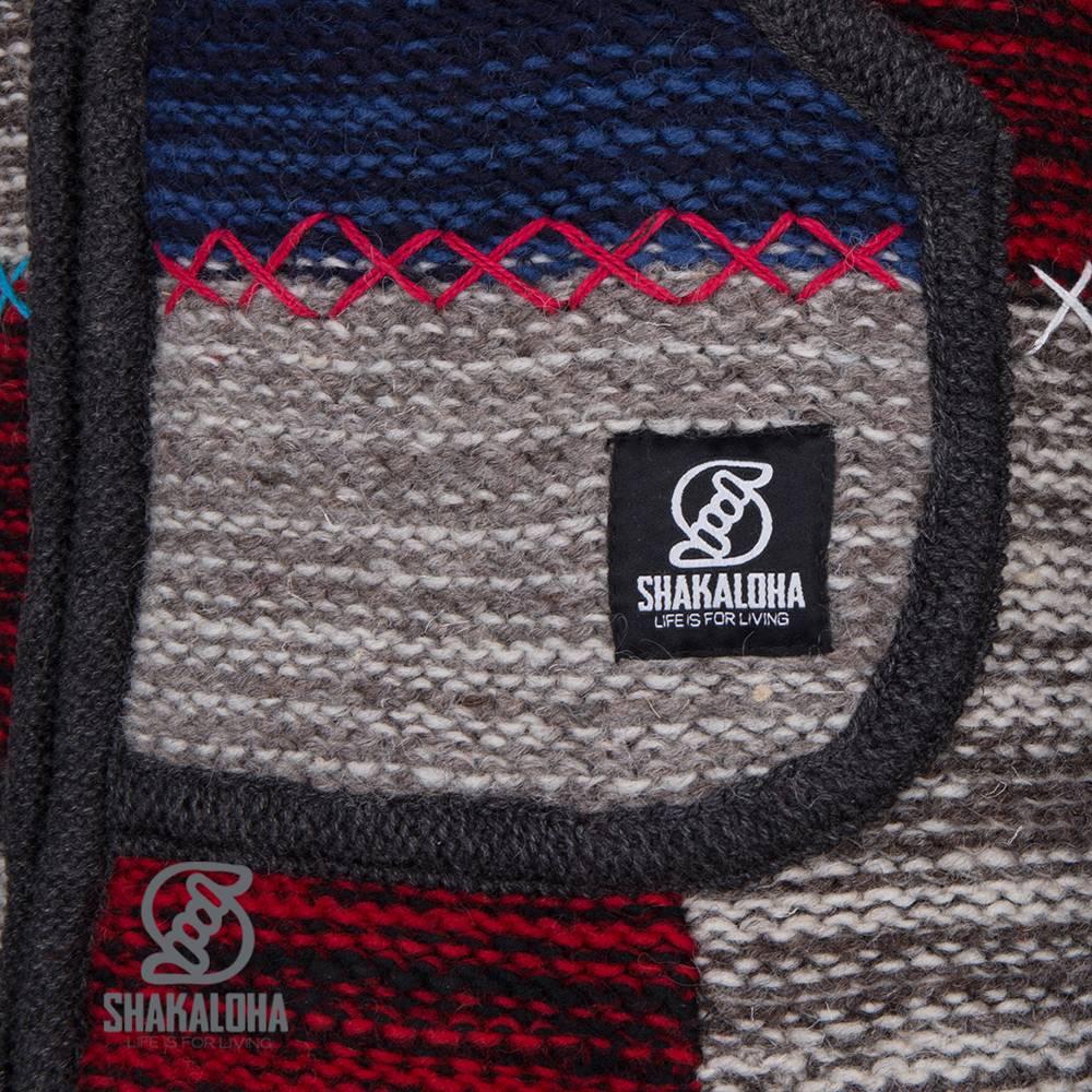 Shakaloha Shakaloha Wolljacke - Strickjacke Patch ZH Grau Rot NavyBlue mit Fleece-Futter und Abnehmbarer Kapuze - Damen - Handgemacht in Nepal aus Schafwolle