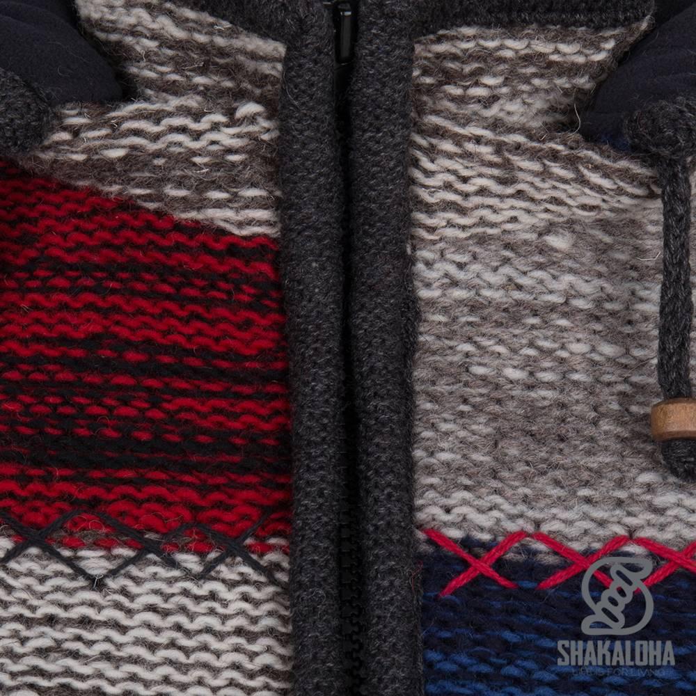 Shakaloha Shakaloha Gebreid Wollen Vest Patch ZH Grijs Rood NavyBlue met Fleece Voering en Afneembare Capuchon - Dames - Handgemaakt in Nepal van Schapenwol