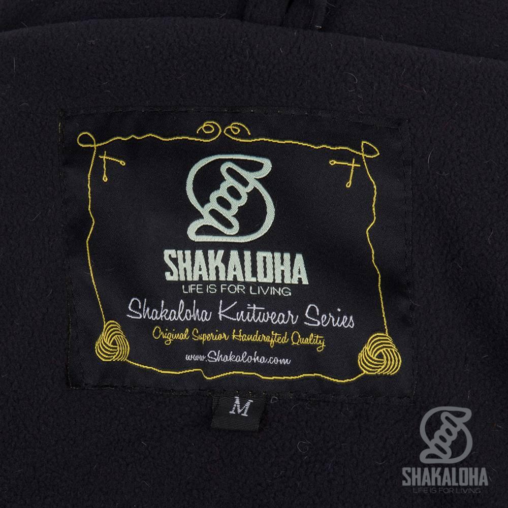 Shakaloha Shakaloha Knitted Woolen Jacket Patch ZH Gray Red NavyBlue with Fleece Lining and Detachable Hood - Woman - Handmade in Nepal from sheep's wool
