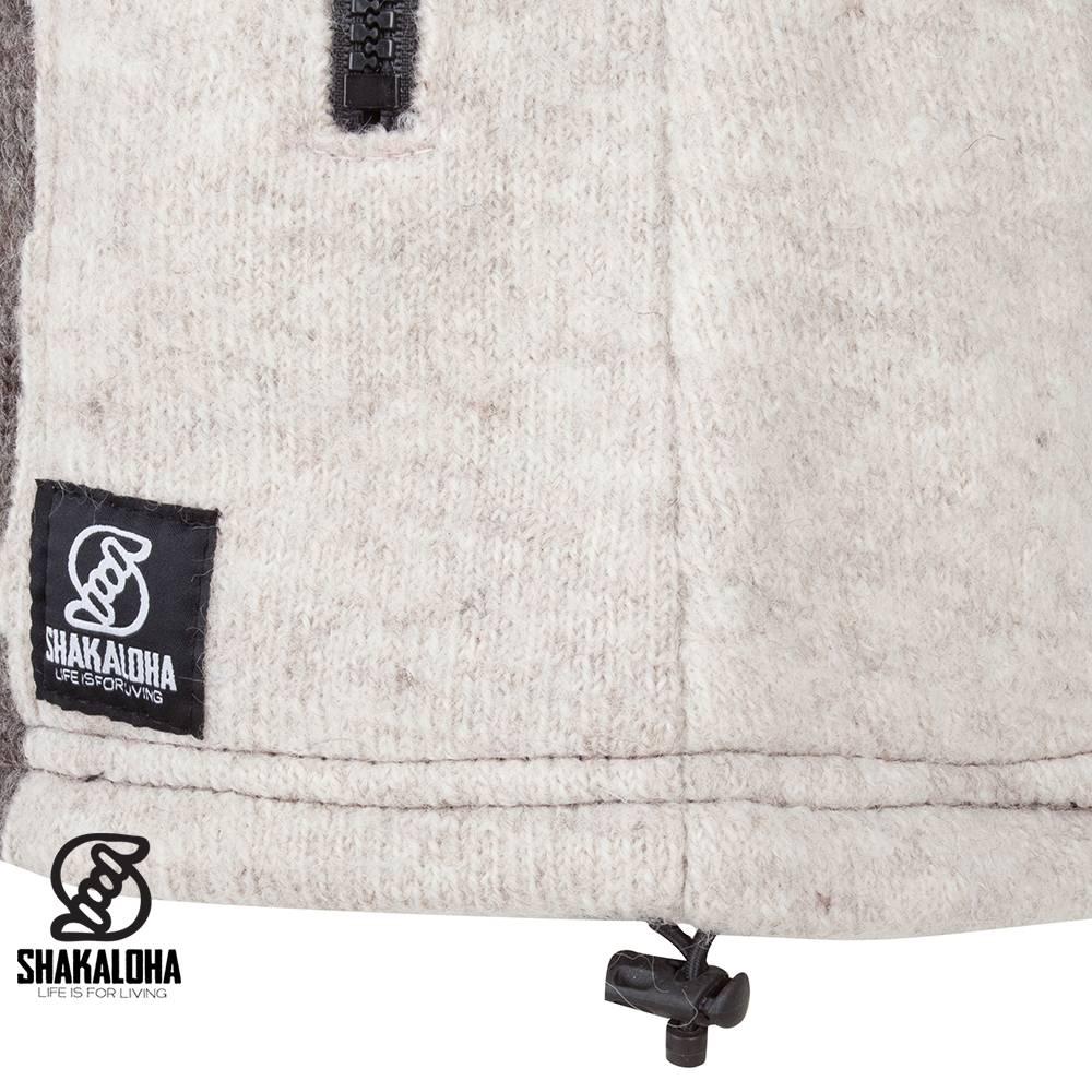 Shakaloha Shakaloha Wolljacke - Strickjacke Fame Beige Hellbraun mit Fleece-Futter und Abnehmbarer Kapuze - Damen - Handgemacht in Nepal aus Schafwolle