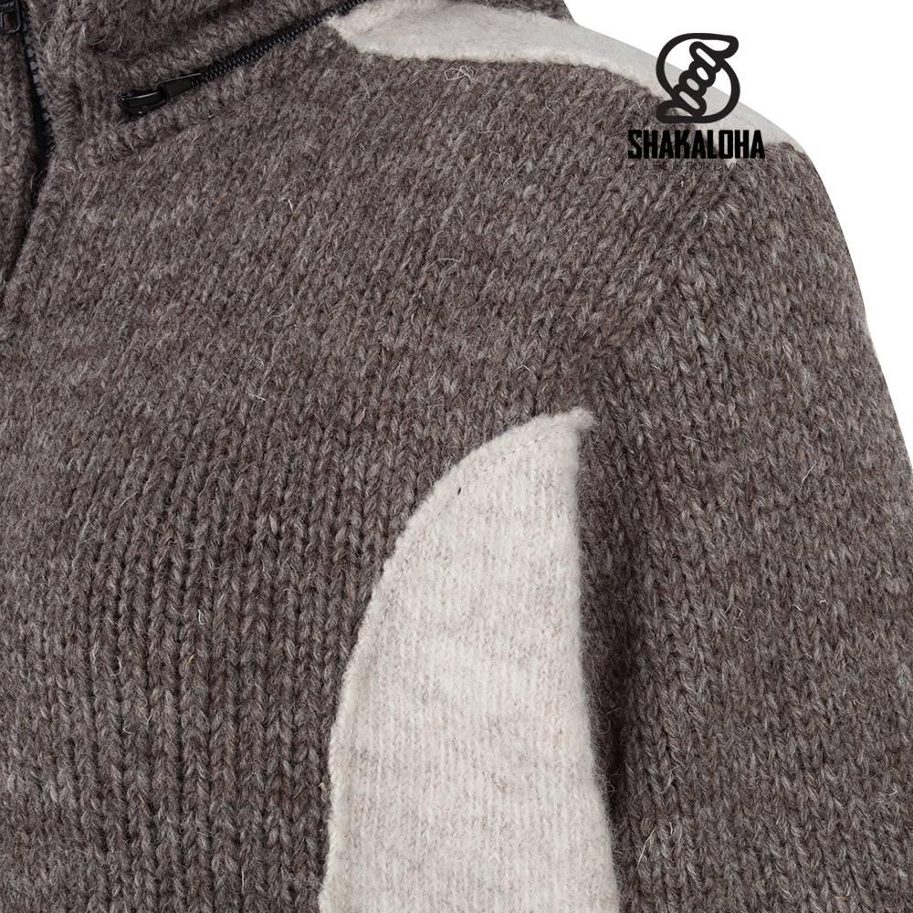 Shakaloha Shakaloha Gebreid Wollen Vest Fame Beige Licht Bruin met Fleece Voering en Afneembare Capuchon - Dames - Handgemaakt in Nepal van Schapenwol