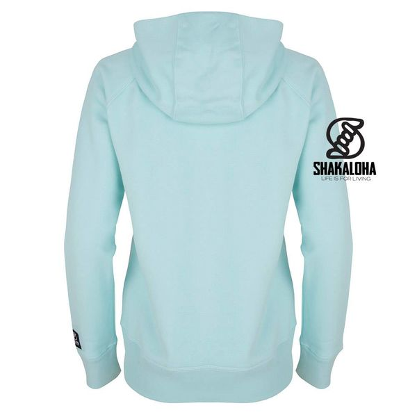 Shakaloha Woman's Hoodie Aqua - Organic Cotton with Shakaloha Print