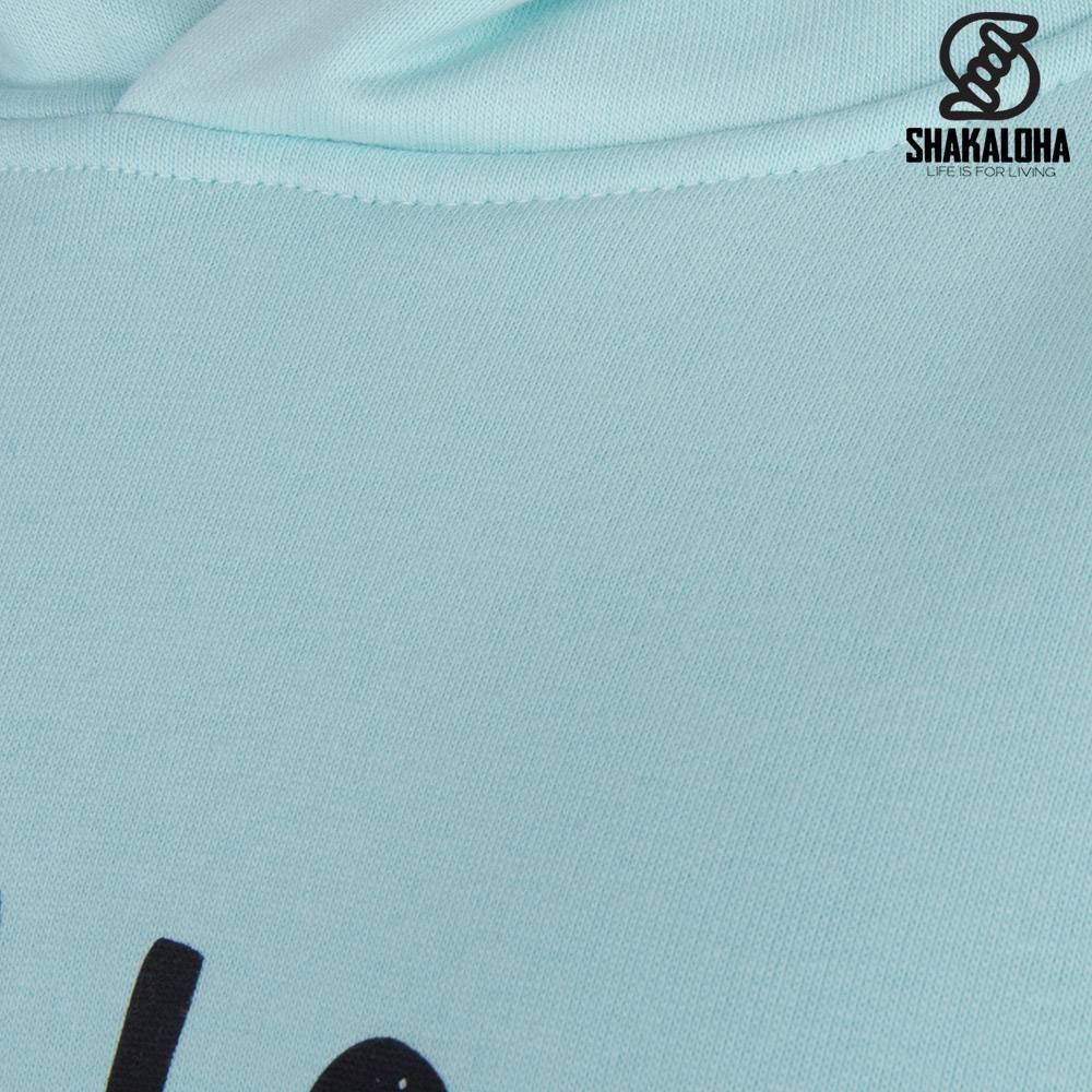 Shakaloha Woman's Hoodie Aqua - Organic Cotton with Shakaloha Print