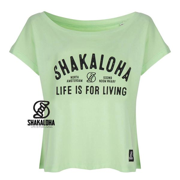 Shakaloha Womens Shirt Lime - Organic Cotton with Shakaloha Print