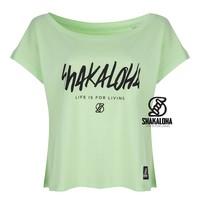 Shakaloha Women's Shirt Lime - Organic Cotton with Shakaloha print