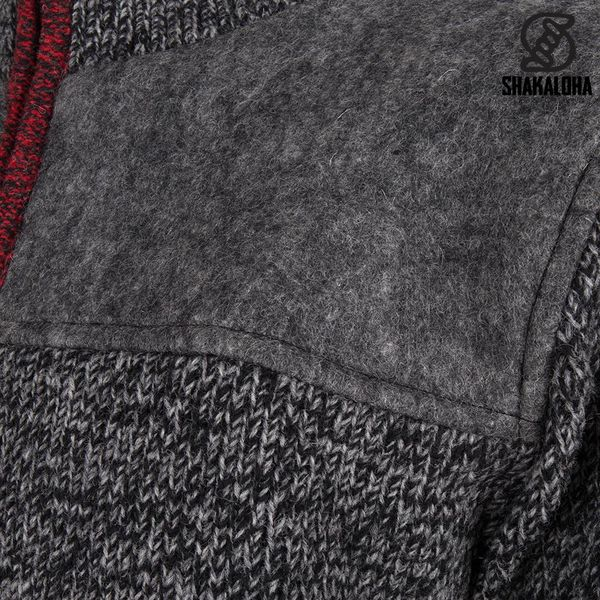 Shakaloha Shakaloha Knitted Woolen Jacket Sierra Anthracite Red with Cotton Lining and High Collar - Men - Unisex - Handmade in Nepal from sheep's wool
