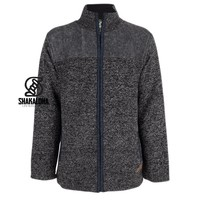 Shakaloha Shakaloha Knitted Woolen Jacket Sierra Anthracite Blue with Cotton Lining and High Collar - Men - Unisex - Handmade in Nepal from sheep's wool