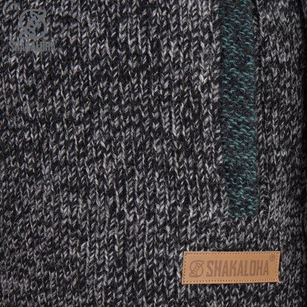 Shakaloha Shakaloha Knitted Woolen Jacket Sierra Anthracite Green with Cotton Lining and High Collar - Men - Unisex - Handmade in Nepal from sheep's wool