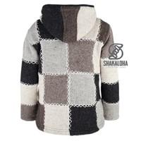 Shakaloha Shakaloha Veste en Laine Tricoté Patch NH Couleurs naturelles avec Doublure en polaire et Capuche avec col intérieur - Femmes - Fabriqué à la main au Népal en laine de mouton