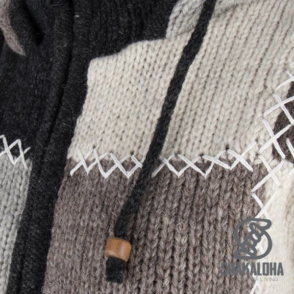Shakaloha Shakaloha Knitted Woolen Jacket Patch NH Natural colors with Fleece Lining and Hood with inner collar - Woman - Handmade in Nepal from sheep's wool