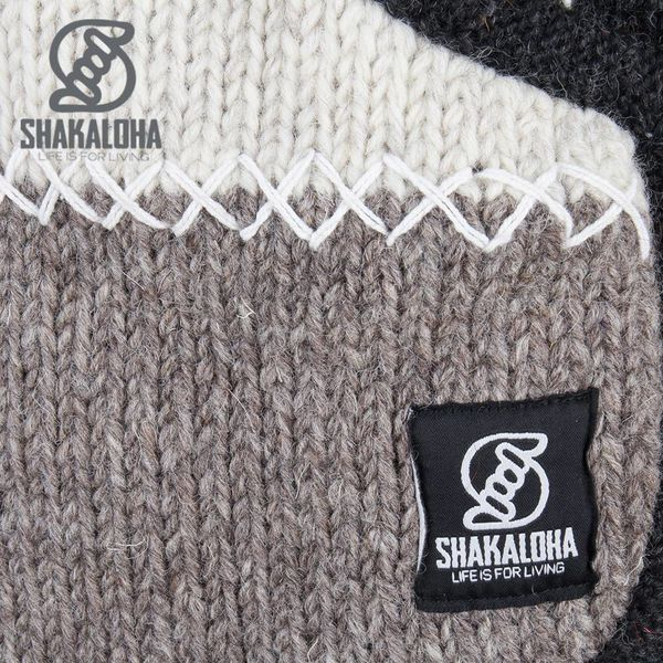 Shakaloha Shakaloha Wolljacke - Strickjacke Patch NH Natürliche Farben mit Fleece-Futter und Kapuze mit Innenkragen - Damen - Handgemacht in Nepal aus Schafwolle