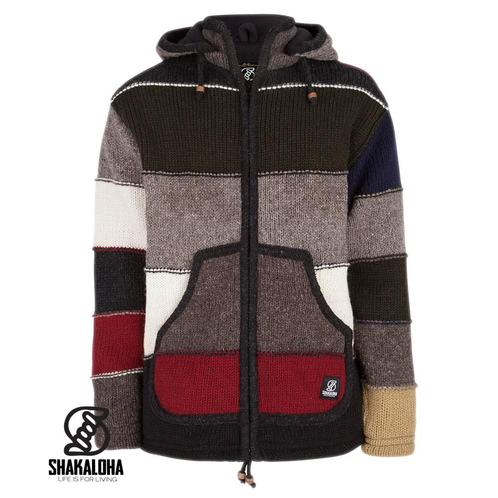 Shakaloha Shakaloha Gebreid Wollen Vest Zito ZH Donker Meer Kleurig met Fleece Voering en Afneembare Capuchon - Man/Uni - Handgemaakt in Nepal van Schapenwol