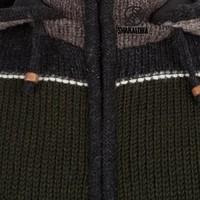 Shakaloha Shakaloha Knitted Woolen Jacket Zito ZH Dark More Colorful with Fleece Lining and Detachable Hood - Men - Unisex - Handmade in Nepal from sheep's wool