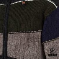 Shakaloha Shakaloha Wolljacke - Strickjacke Zito ZH Dunkel bunter mit Fleece-Futter und Abnehmbarer Kapuze - Herren - Uni - Handgemacht in Nepal aus Schafwolle