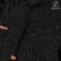 Shakaloha Shakaloha Wolljacke - Strickjacke Woodcord Ziphood Anthrazit mit Fleece-Futter und Abnehmbarer Kapuze - Damen - Handgemacht in Nepal aus Schafwolle