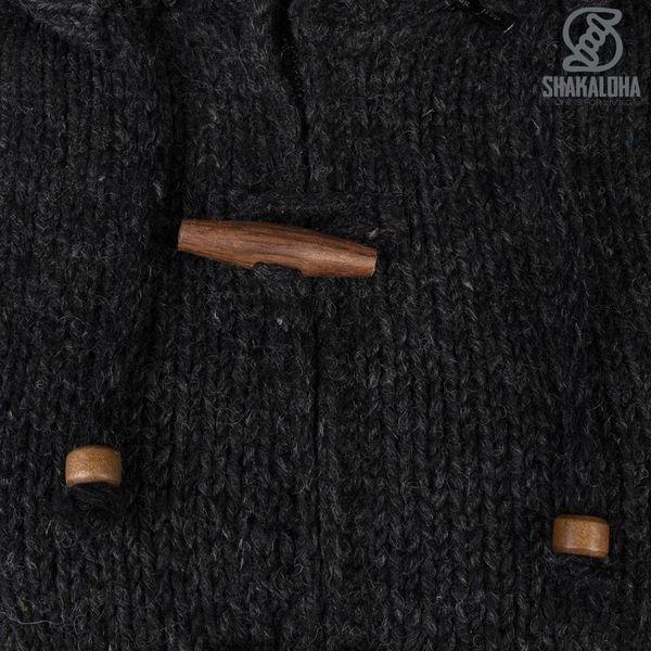 Shakaloha Shakaloha Gebreid Wollen Vest Woodcord Ziphood Antraciet met Fleece Voering en Afneembare Capuchon - Dames - Handgemaakt in Nepal van Schapenwol