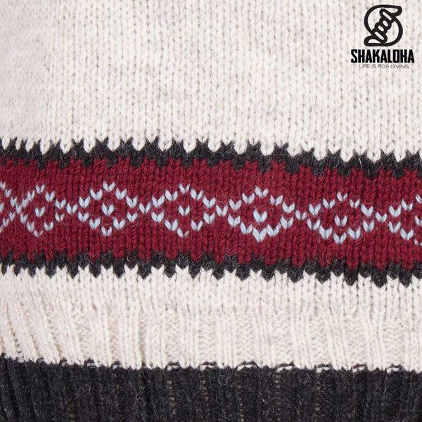 Shakaloha Shakaloha Wolljacke - Strickjacke Spring Beige Creme mit Fleece-Futter und Kapuze - Damen - Handgemacht in Nepal aus Schafwolle