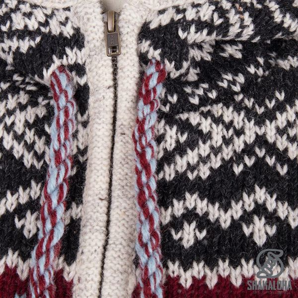 Shakaloha Shakaloha Knitted Woolen Jacket Spring  with Fleece Lining and Hood - Woman - Handmade in Nepal from sheep's wool