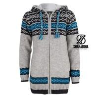 Shakaloha Shakaloha Veste en Laine Tricoté Spring gris avec Doublure en polaire et Capuche - Femmes - Fabriqué à la main au Népal en laine de mouton