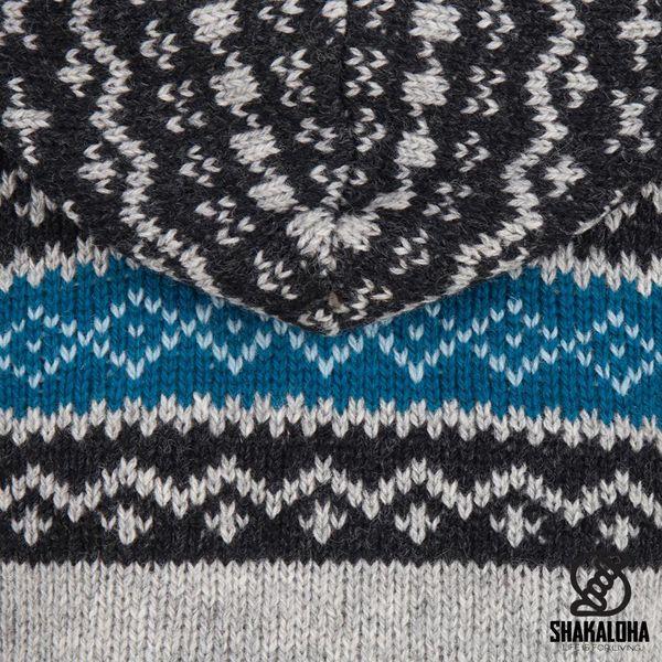 Shakaloha Shakaloha Knitted Woolen Jacket Spring Gray with Fleece Lining and Hood - Woman - Handmade in Nepal from sheep's wool