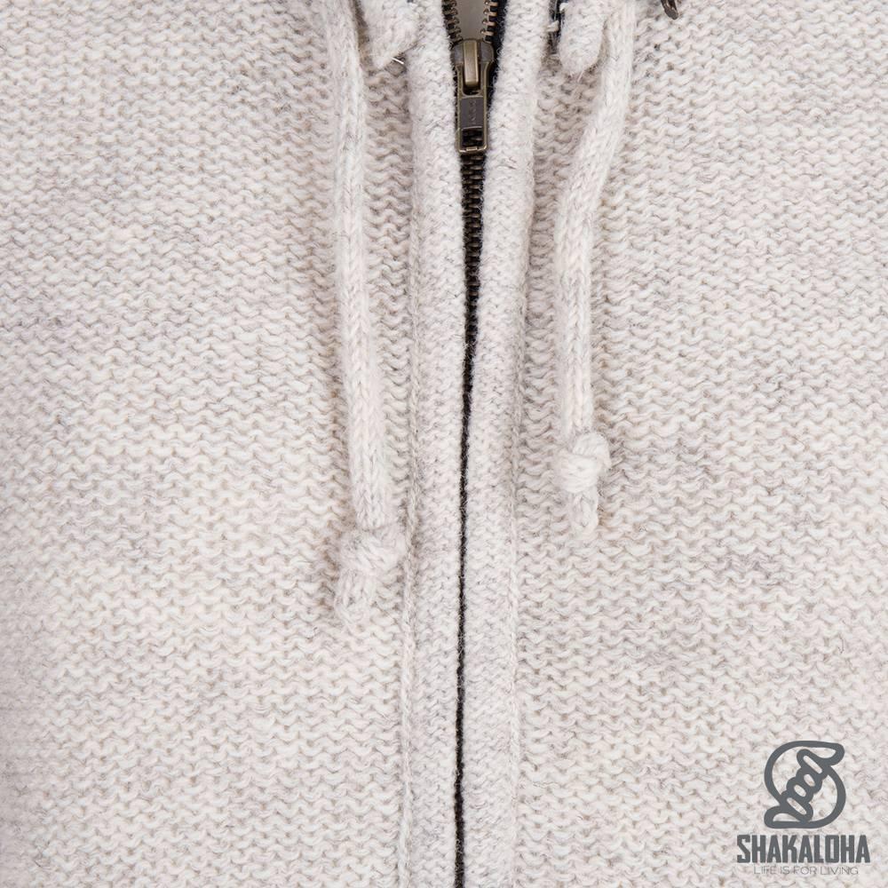 Shakaloha Shakaloha Gebreid Wollen Vest Supermodel ZH Beige Crème met Katoenen Voering en Afneembare Capuchon - Dames - Handgemaakt in Nepal van Schapenwol